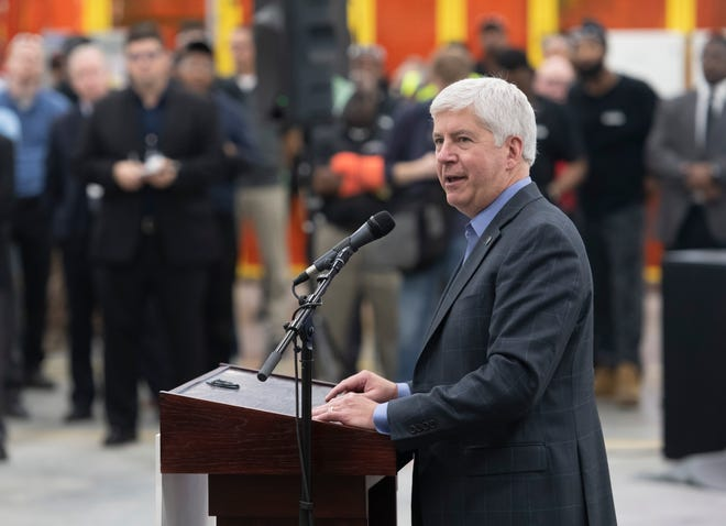 Michigan Governor Rick Snyder gives a speech during the official opening of Flex-N-Gate Detroit at the I-94 Industrial Park, October 8, 2018.