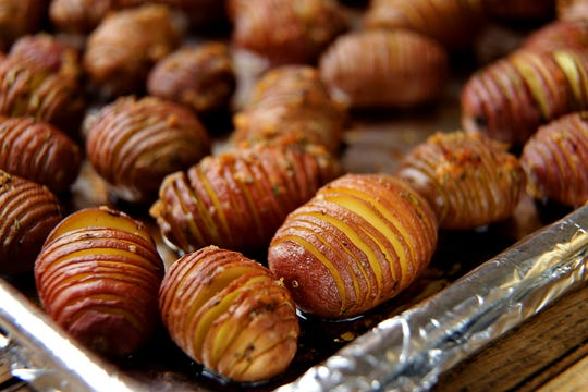 Pictured are the Hasselback potatoes. (Kirk McKoy / Los Angeles Times)