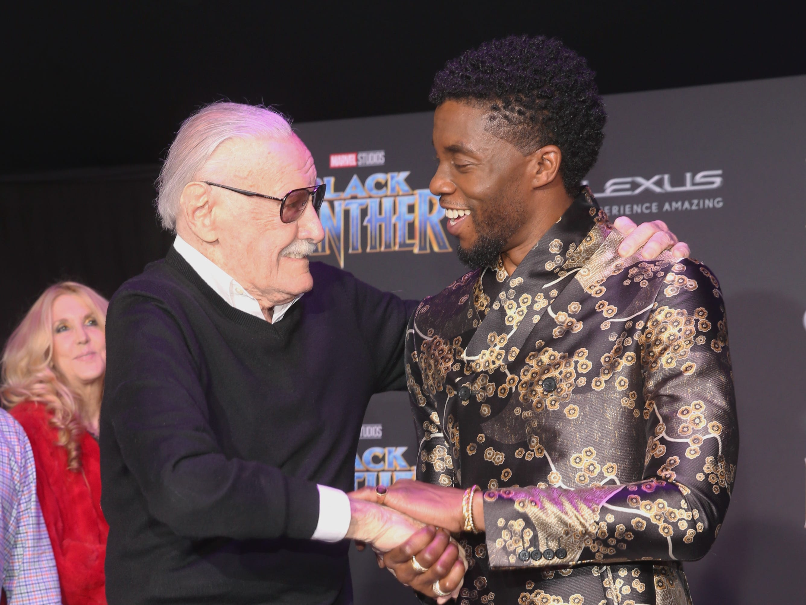 "Executive producer Stan Lee and actor Chadwick Boseman greet each other at the Los Angeles World Premiere of Marvel Studios' ""Black Panther"" on January 29, 2018 in Hollywood."