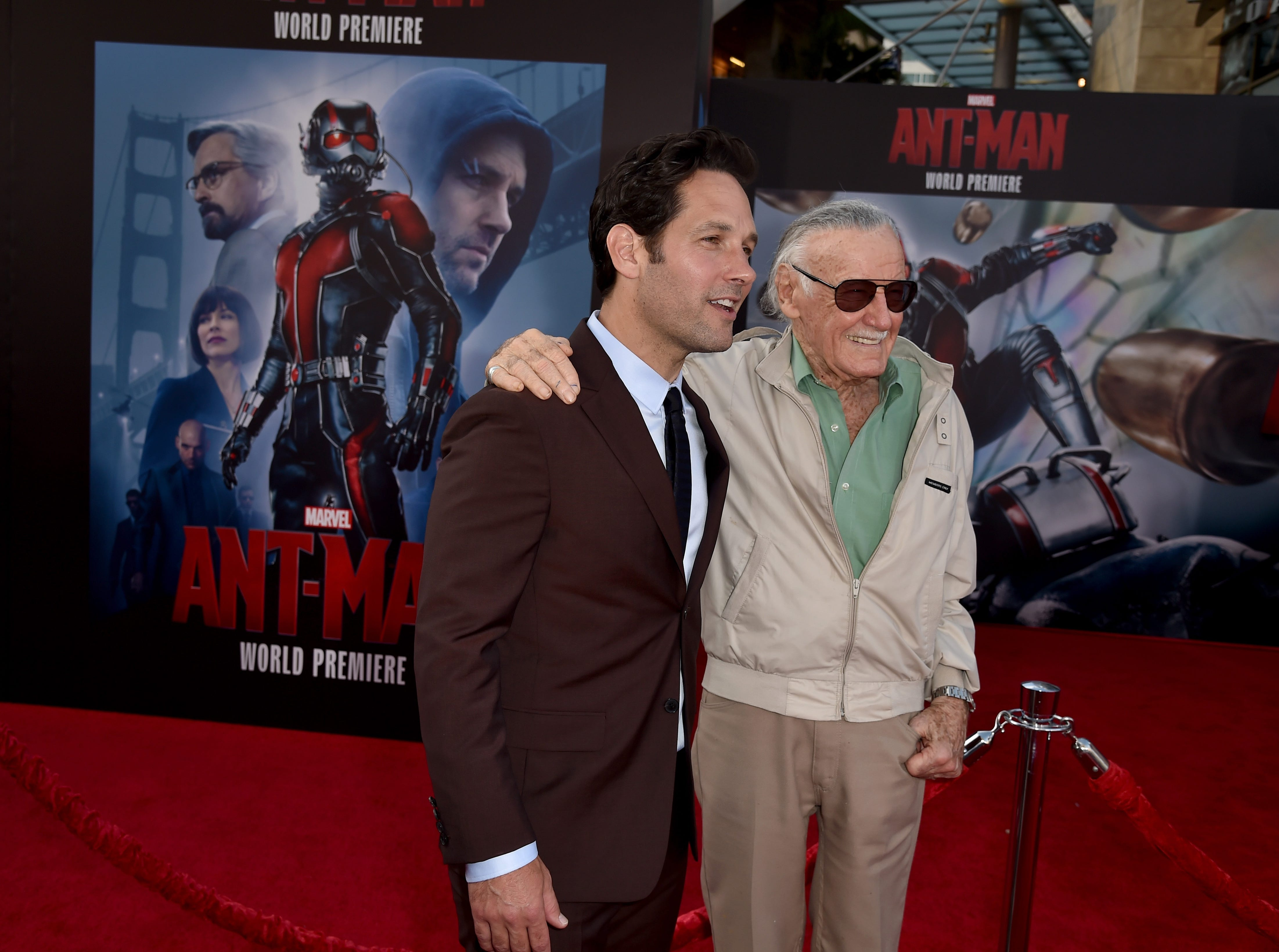 "Actor Paul Rudd joins executive producer/comic book icon Stan Lee at the premiere of Marvel's ""Ant-Man"" in 2015 in Hollywood, California."