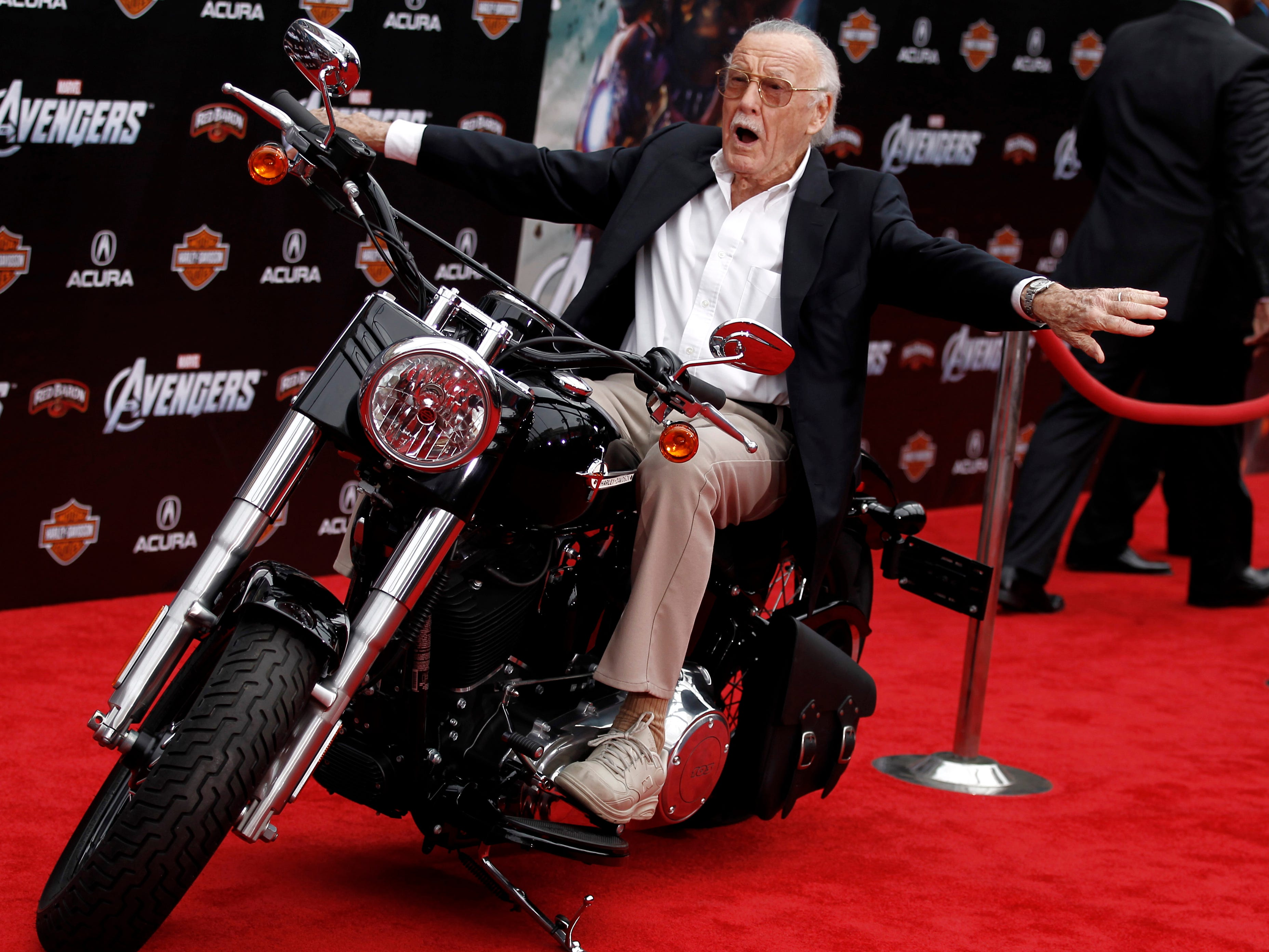 "Stan Lee arrives at the premiere of ""The Avengers"" in Los Angeles, April 11, 2012."