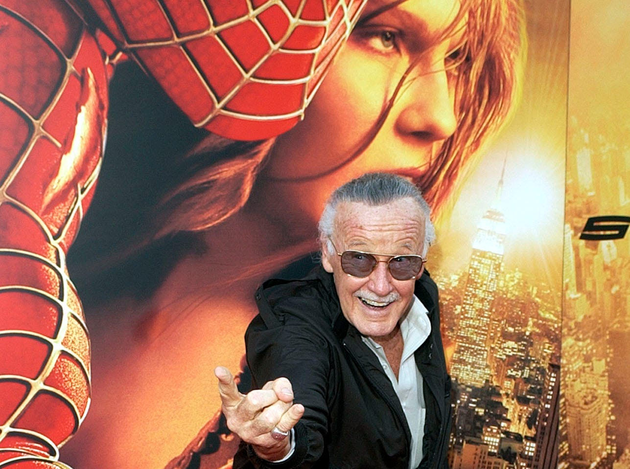 "Spiderman creator and ""Spider-Man 2"" executive producer Stan Lee poses for photographers at the premiere of ""Spider-Man 2"" in Los Angeles in 2004."