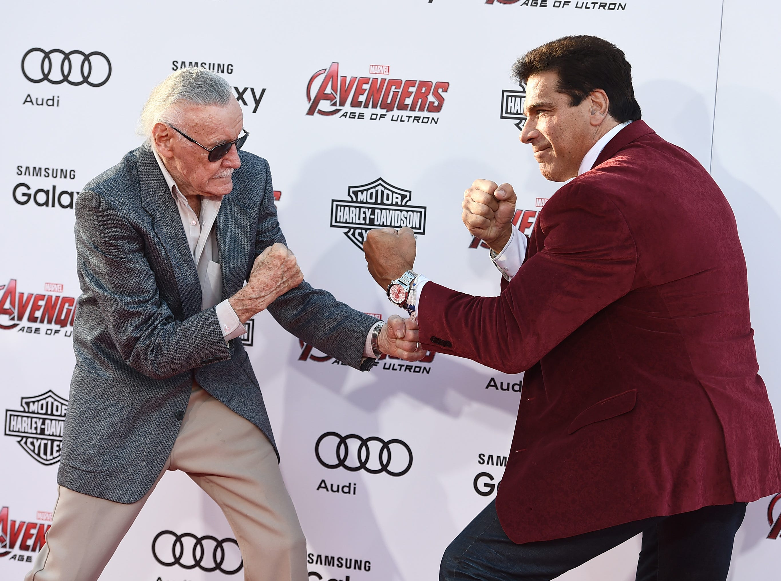 "Stan Lee, left, and Lou Ferrigno arrive at the Los Angeles premiere of ""Avengers: Age Of Ultron"" at the Dolby Theatre on  April 13, 2015."