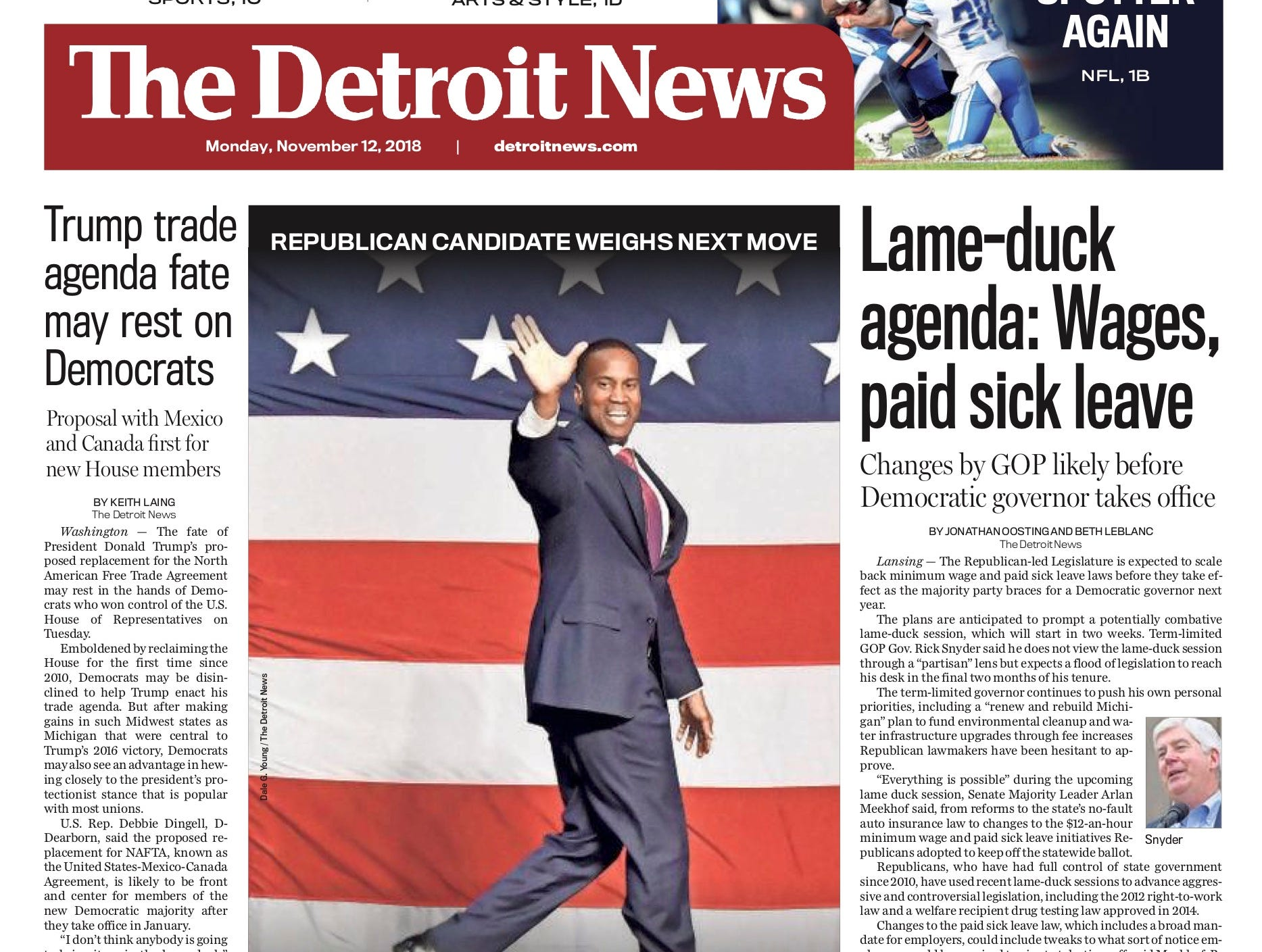 The front page of the Detroit News on November 12, 2018.