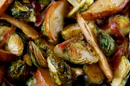 Pictured are the vegetables (Brussel sprouts with pear) (Kirk McKoy / Los Angeles Times)