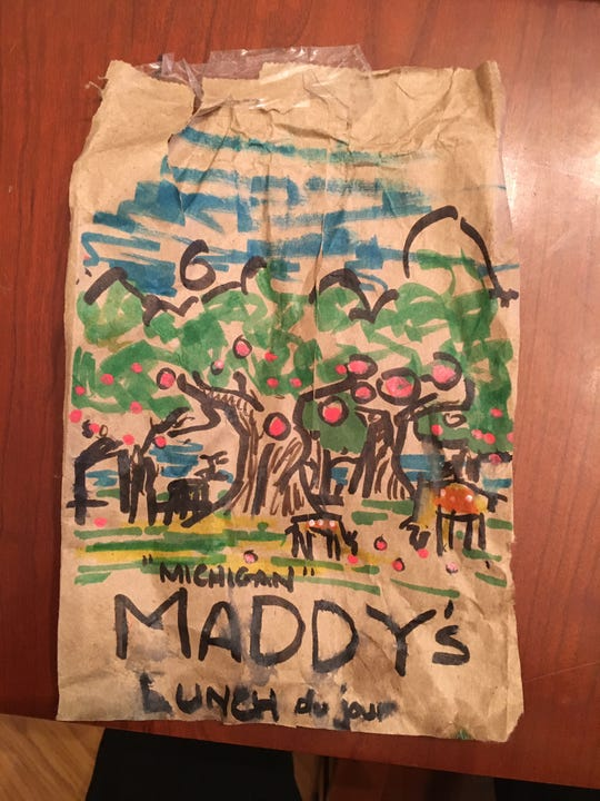 One of the daily lunchbags Sutton hand-paints for his youngest daughter, Maddy.