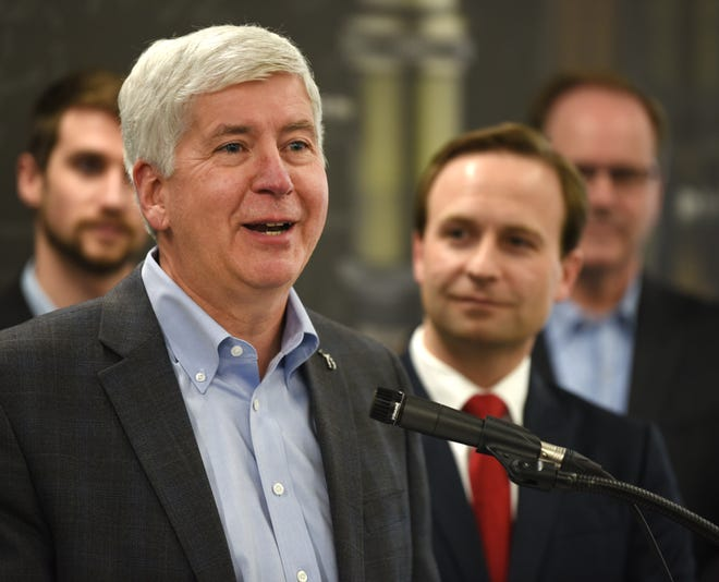 """Gov. Rick Snyder speaks during an endorsement event for Lt. Gov. Brian Calley during a special """"Continue the Comeback"""" media event in Southfield on March 21."""