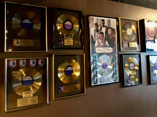 Motown Bistro is adorned with records from Motown artists like Boyz II Men and Lionel Richie.