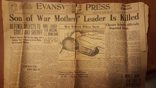 Cover of the Evansville Press announcing the death of Chester Schulz.