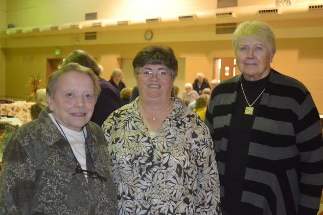 Longtime member and past president Alyce Ann Schmidt, current president Viki Hill, and treasurer Jan Hazen (left to right), helped organize the local Nov. 2 meeting of Church Women United.