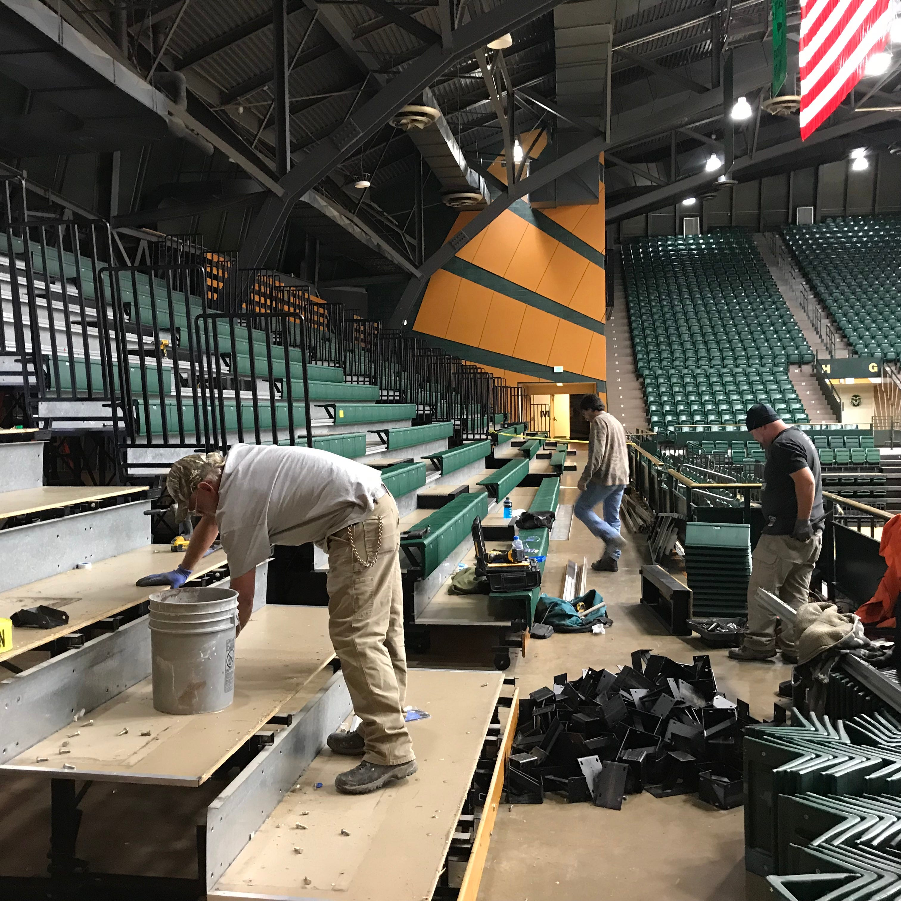 Work begins on new party deck at CSU's Moby Arena