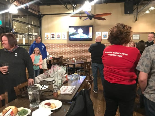 Members of the Poudre Education Association gathered at Coopersmith's in Old Town on election night.