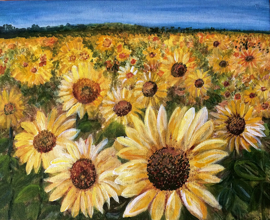 """Sunflowers,"" painting by Deb Stroh-Larson, one of the artists taking part in the Sturgeon Bay Art Crawl."