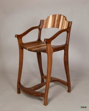 Wood chair by Michael Doerr, one of the artists taking part in the Sturgeon Bay Art Crawl.