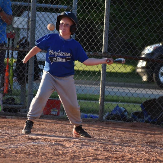 Isaiah Lanphear bats during a May baseball game for Wrightstown Area Baseball Association's youth league.