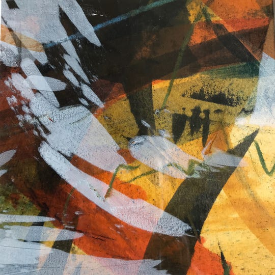 Mixed-media painting by Kristi Roenning, one of the artists taking part in the Sturgeon Bay Art Crawl.