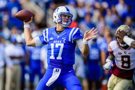 Duke quarterback Daniel Jones is coming off a four-touchdown performance against North Carolina.