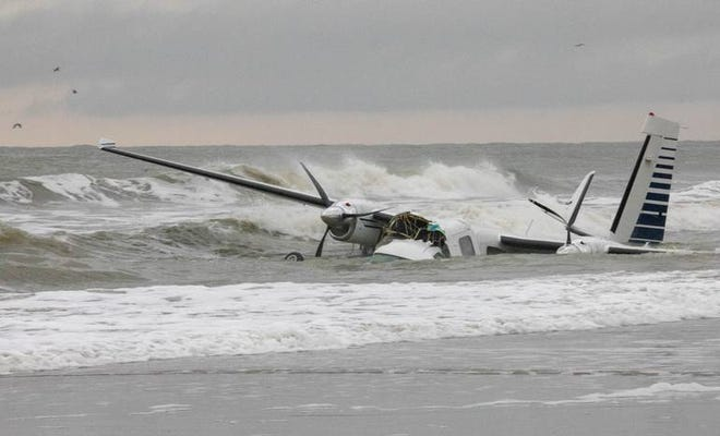 A small airplane went down into the ocean off the shores of Myrtle Beach Monday afternoon, causing a short delay for flights leaving Myrtle Beach International Airport.