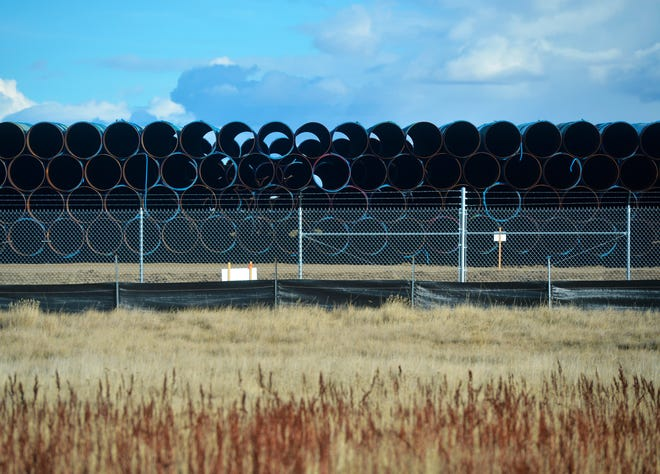 Pipe for the Keystone XL Pipeline is being stored at a pipe yard in Northern Phillips County in 2018 in anticipation of the beginning of construction in 2019.