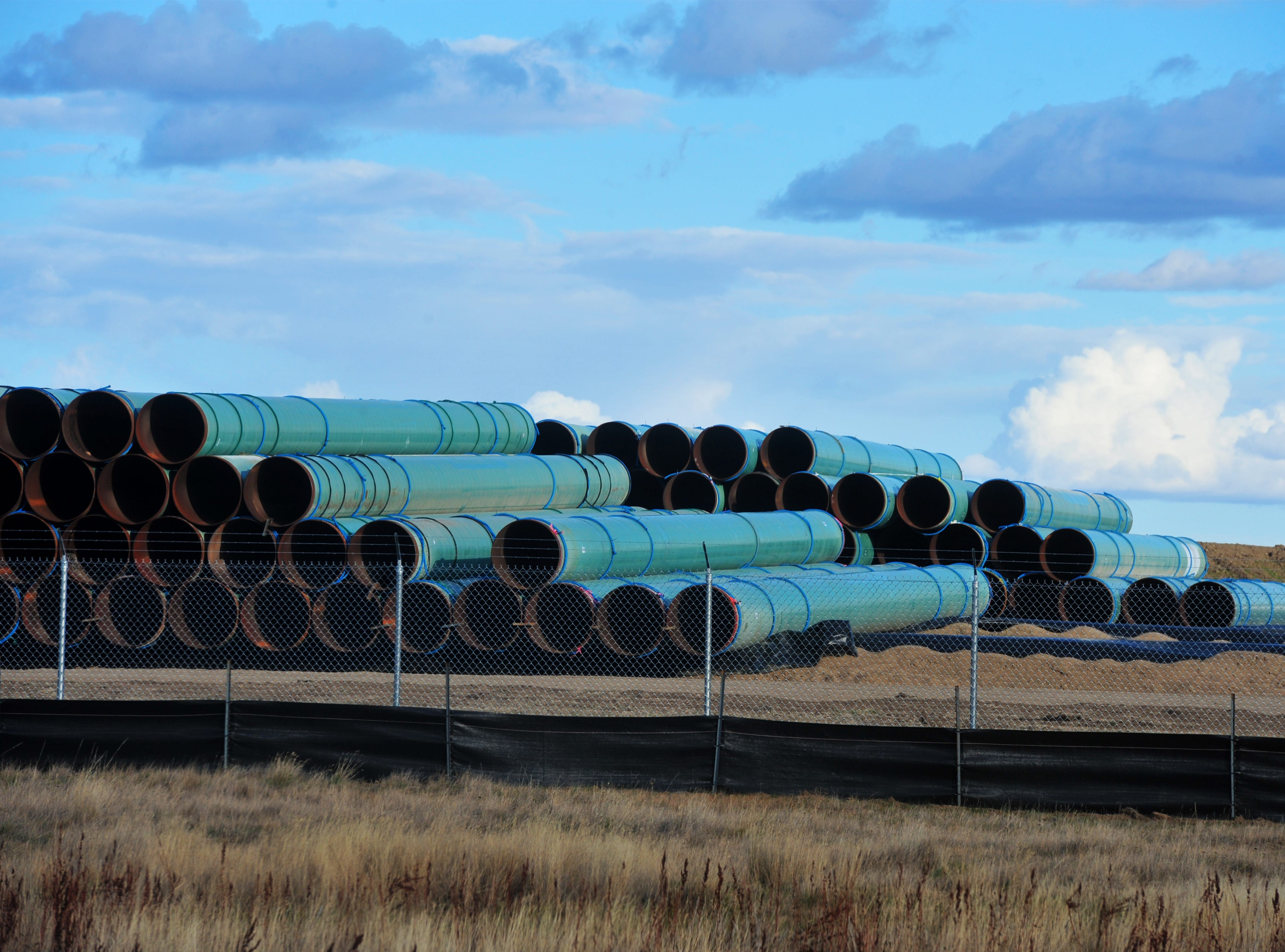 Pipe for the Keystone XL Pipeline is being stored at a pipe yard in Northern Phillips County in anticipation of the beginning of construction in 2019.