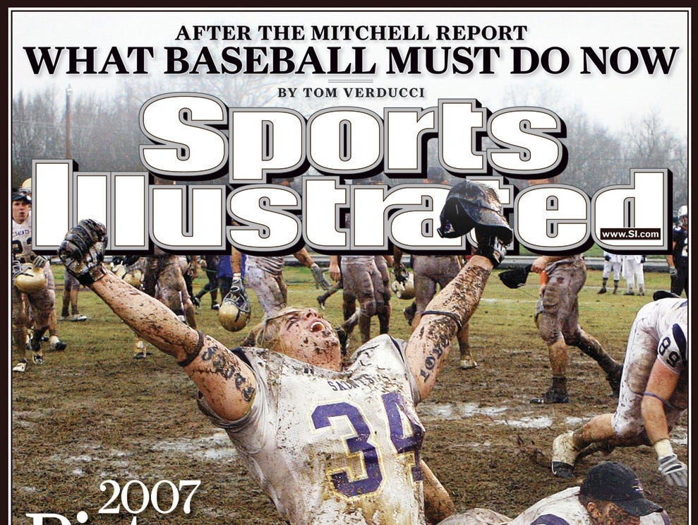 The cover of Sports Illustrated's Picture of the Year issue, on newsstands Wednesday, Dec. 19, 2007, features a triumphant Carroll College junior linebacker Brandon Day, kneeling in the mud at Jim Carroll Stadium in Savannah, Tenn., celebrating Carroll's 17-9 win Saturday, Dec. 15, 2007, over the University of Sioux Falls for the NAIA college football championship. The photo was shot by AP contract photographer John Russell. (AP Photo/John Russell)