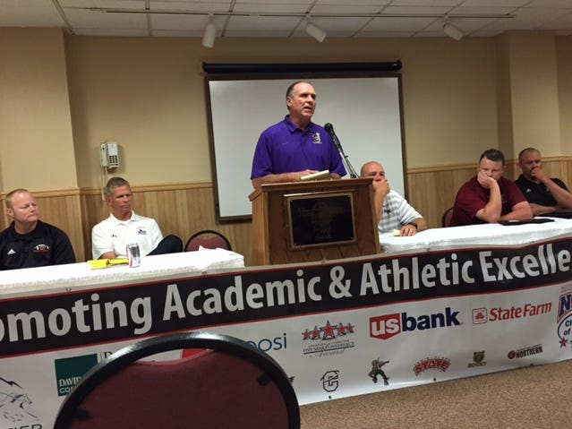 Carroll College head coach Mike Van Diest speaks at the Frontier Conference football Media Day Tuesday at the Town House Inn.
