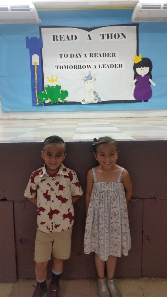 Elijah and Sophia Mendiola began their seventh birthday on Nov. 9 at the Fanoghe Chamorro assembly held every first Friday of the month at Harry S. Truman Elementary School.
