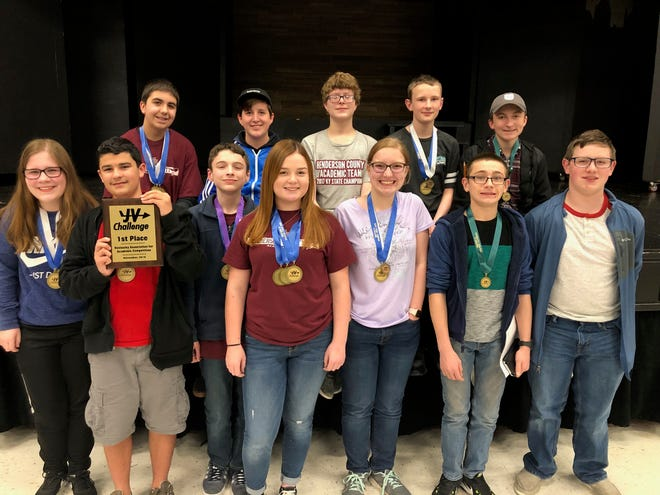 Henderson County High School's host junior varsity academic team won the Governor's Cup JV Challenge tournament Saturday, Nov. 10, 2018. Pictured are, front row, from left Julianne Latimer, Jacob Fulcher, Ryan Nantz, Maggie Privette, Abby Salisbury, JohnPat Phillips and Avery Wagner; back row, from left, Andrew Russell, Jake Perry, Dain North, Josh Freeman and Luke Payne