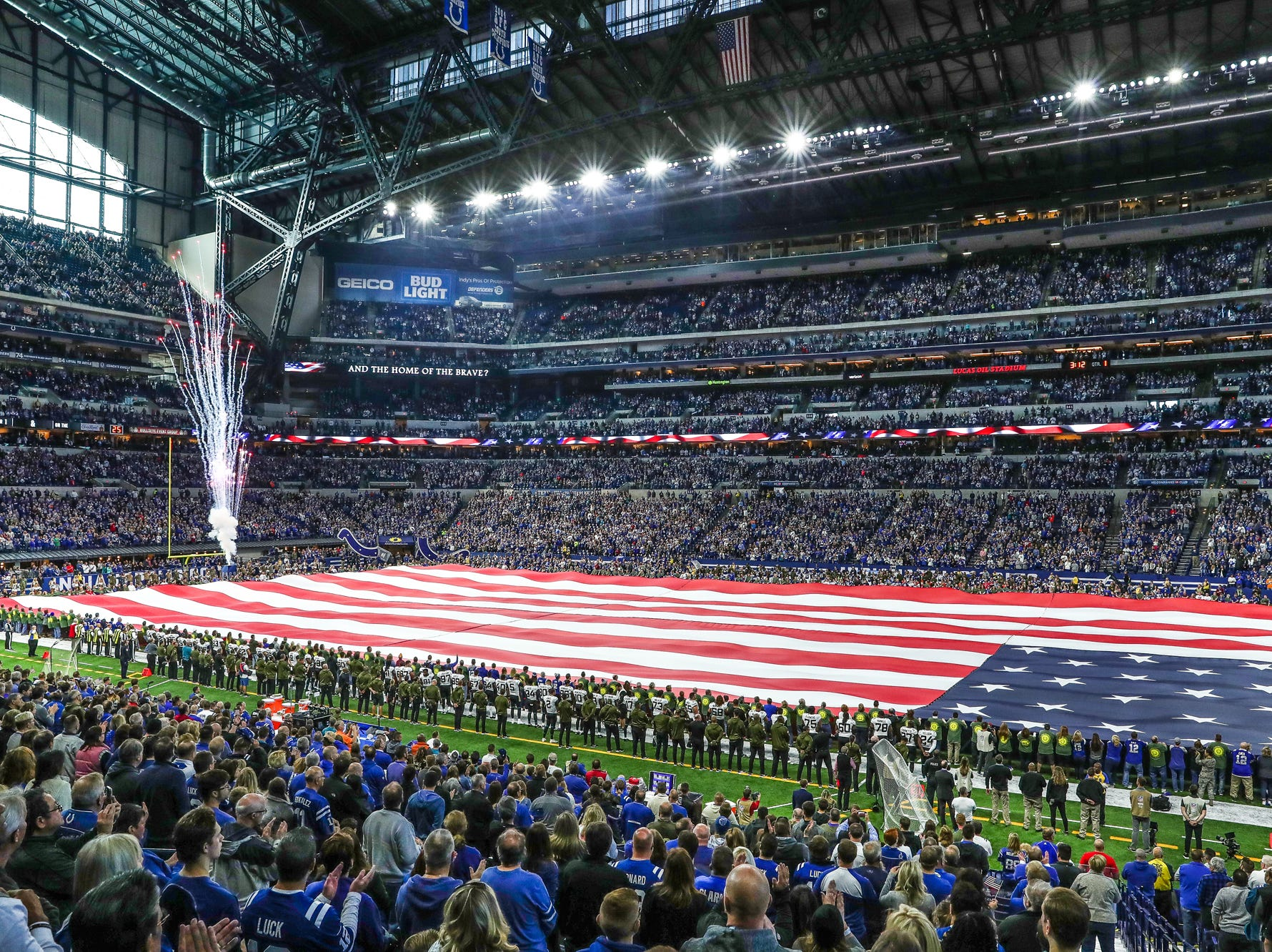 The national anthem is sung before the Indianapolis Colts game against the Jacksonville Jaguars at Lucas Oil Stadium on Sunday, Nov. 11, 2018.