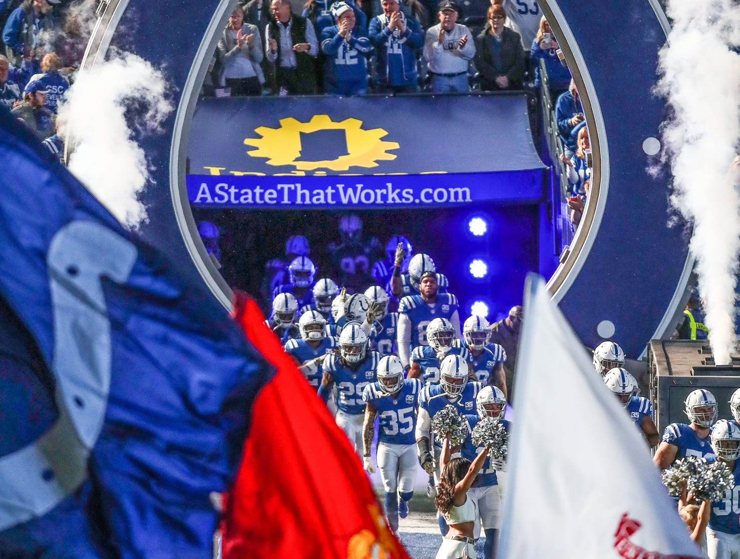 The Indianapolis Colts make their way onto the field to play the Jacksonville Jaguars at Lucas Oil Stadium on Sunday, Nov. 11, 2018.