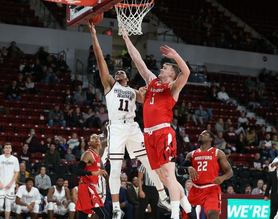 Senior guard Quinndary Weatherspoon scored 22 points  on Hartford one game after dropping 21 against Austin Peay. Mississippi State is 2-0 on the year.
