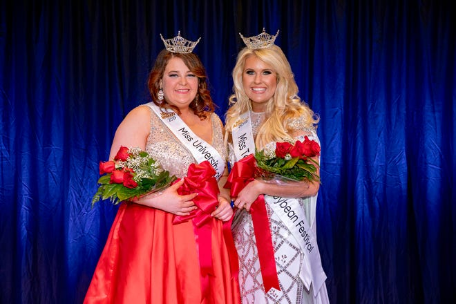 Amanda Mayo (left), of Lilburn, Georgia, and Tera Townsend, of Nashville, claimed the Miss UT Martin and Miss Tennessee Soybean Festival titles, respectively, during the combined pageant Nov. 11 at the University of Tennessee at Martin. Mayo is a junior at UT Martin studying biology and geology. Townsend is an audio engineering student at SAE Institute Nashville.