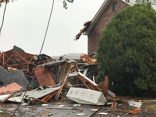 A home was severely damaged by a possible gas explosion on Hidden Hill Drive in Clinton on Monday, Nov. 12, 2018.