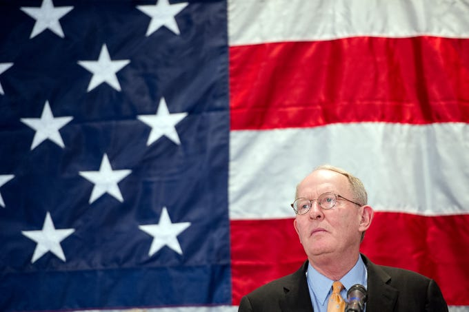 US Senator Lamar Alexander thanks his supporters at the Crowne Plaza on Tuesday, November 4, 2014 after defeating Gordan Ball.