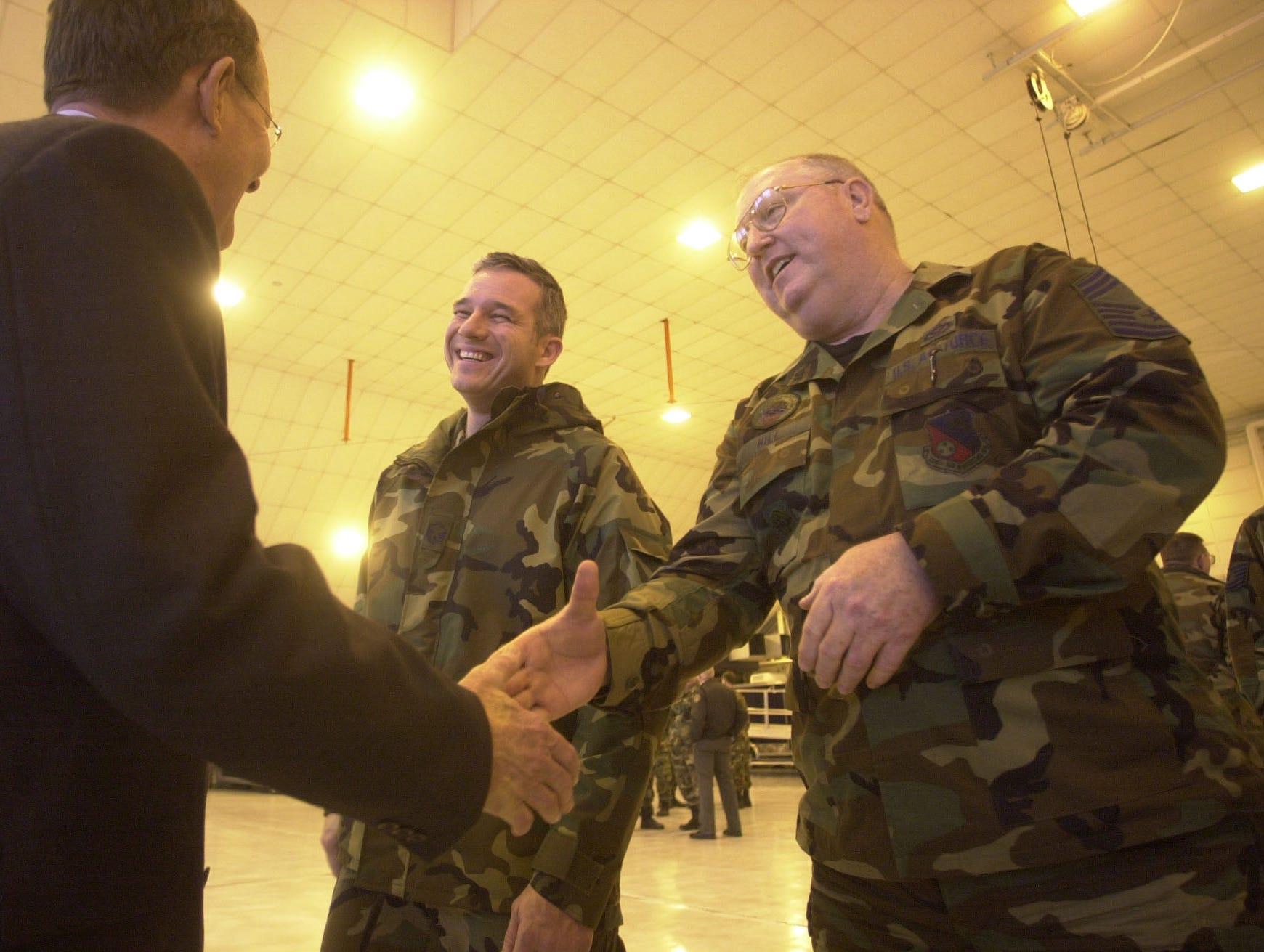 Master Sgt. Patrick LaDue, center, and Chief Master Sgt. Doug Hill greet Senator Lamar Alexander at the National Guard base at McGhee Tyson Airport Thursday.