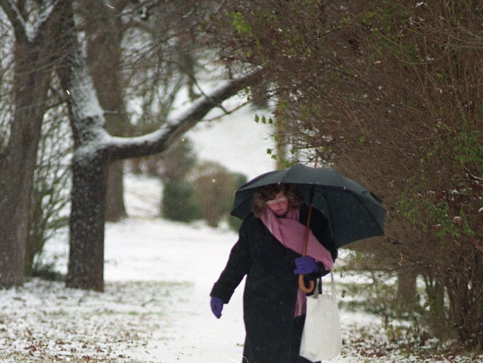 Jane McLean of Knoxville walks home along Scenic Drive from a bus stop in 1999.