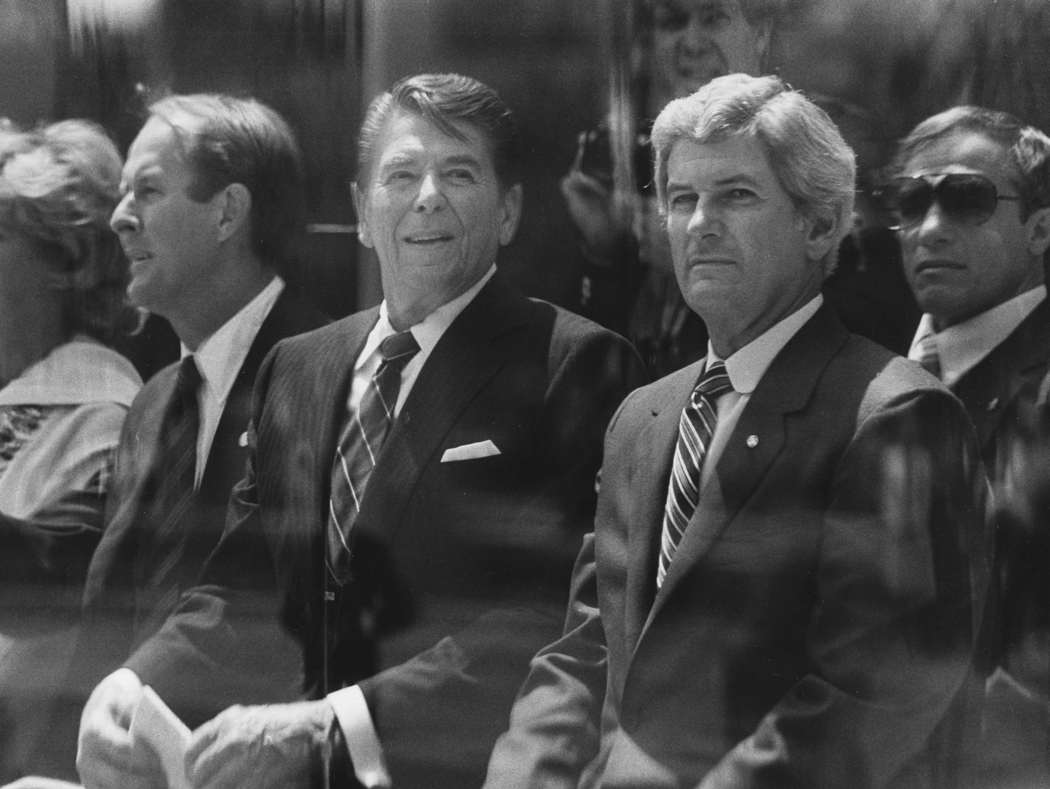 In a May 1, 1982, photograph, Dinah Shore, left, Gov. Lamar Alexander, President Ronald Reagan and Jake Butcher take part in the World's Fair opening ceremonies.