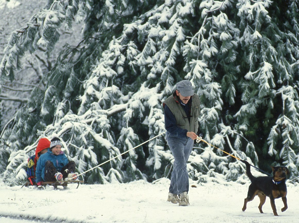 "John James pulls his children Margaret, 8, and Ben, 6, on a sled along a snowy Island Home Blvd. in January 1994 as ""Beau,"" who James describes as his pound puppy, leads the way."