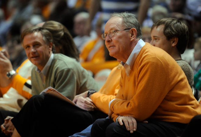 Then-Knoxville Mayor Bill Haslam with Sen. Lamar Alexander, courtside at a UT Vols game in 2009.