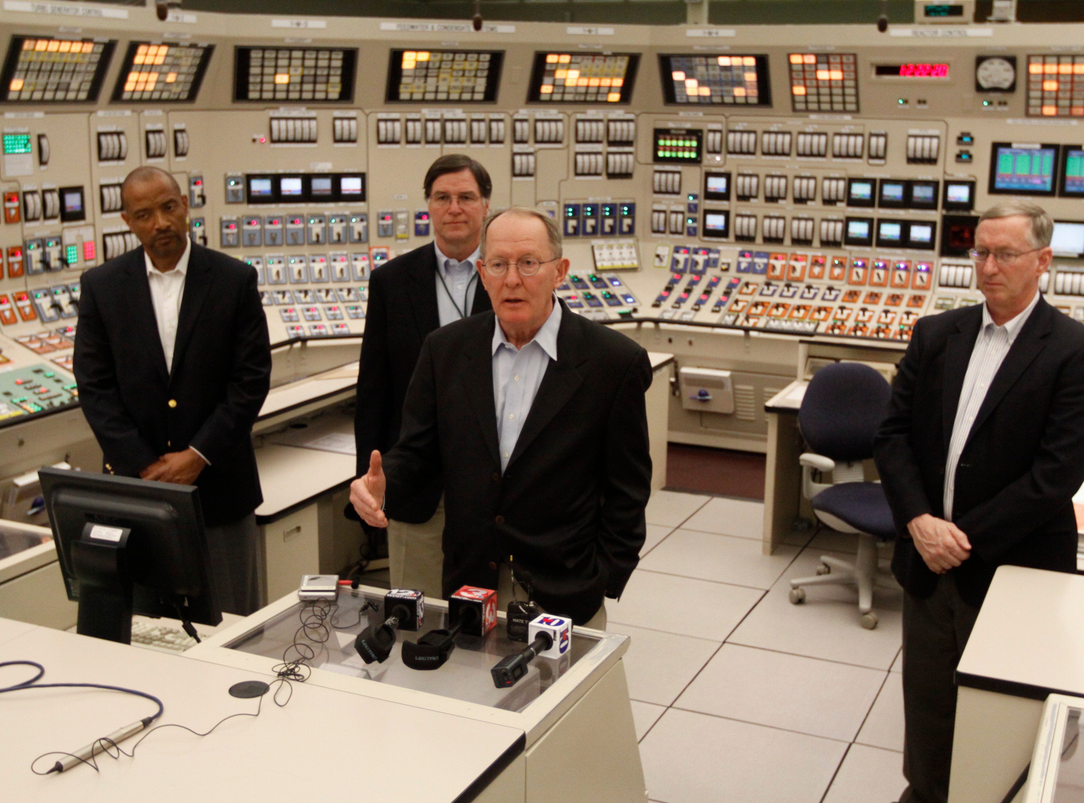 Victor McCree with the Nuclear Regulatory Commission (NRC), TVA's COO Bill McCollum, Sen. Lamar Alexander (R-Tenn.) and Bill Ostendorff of the Nuclear Regulatory Commission (NRC), from left, visit the Watts Bar nuclear plant to discuss reactor and nuclear material safety in the U.S. early Monday afternoon. Watts Bar is currently completing work on a second reactor which is the only new reactor under construction in the country.