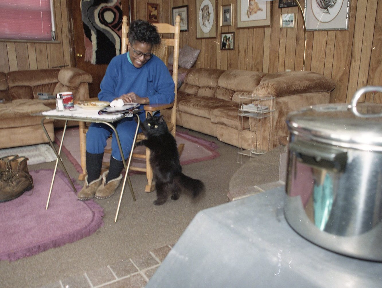 Pat Toms pets her cat J.J. while eating in her den in March 1993. The Toms have been without heat since 4:00 p.m. Saturday afternoon and are using a wood stove for warmth as well as for cooking.