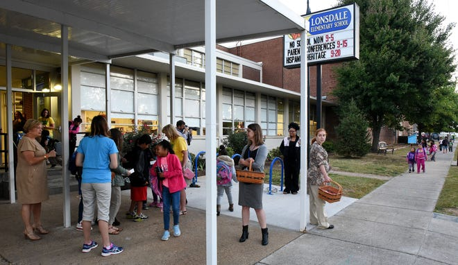 "File Photo: Lonsdale Elementary School students and Knox County Schools Interim Superintendent Buzz Thomas took part in the school's ""Walk to School On Time Day"" Wednesday, Oct. 5, 2016. Lonsdale has 430 students and about 200 of them walk from their neighborhood homes daily. Nearly 20 elementary and middle schools are celebrating the 20th International Walk to School Day this year."