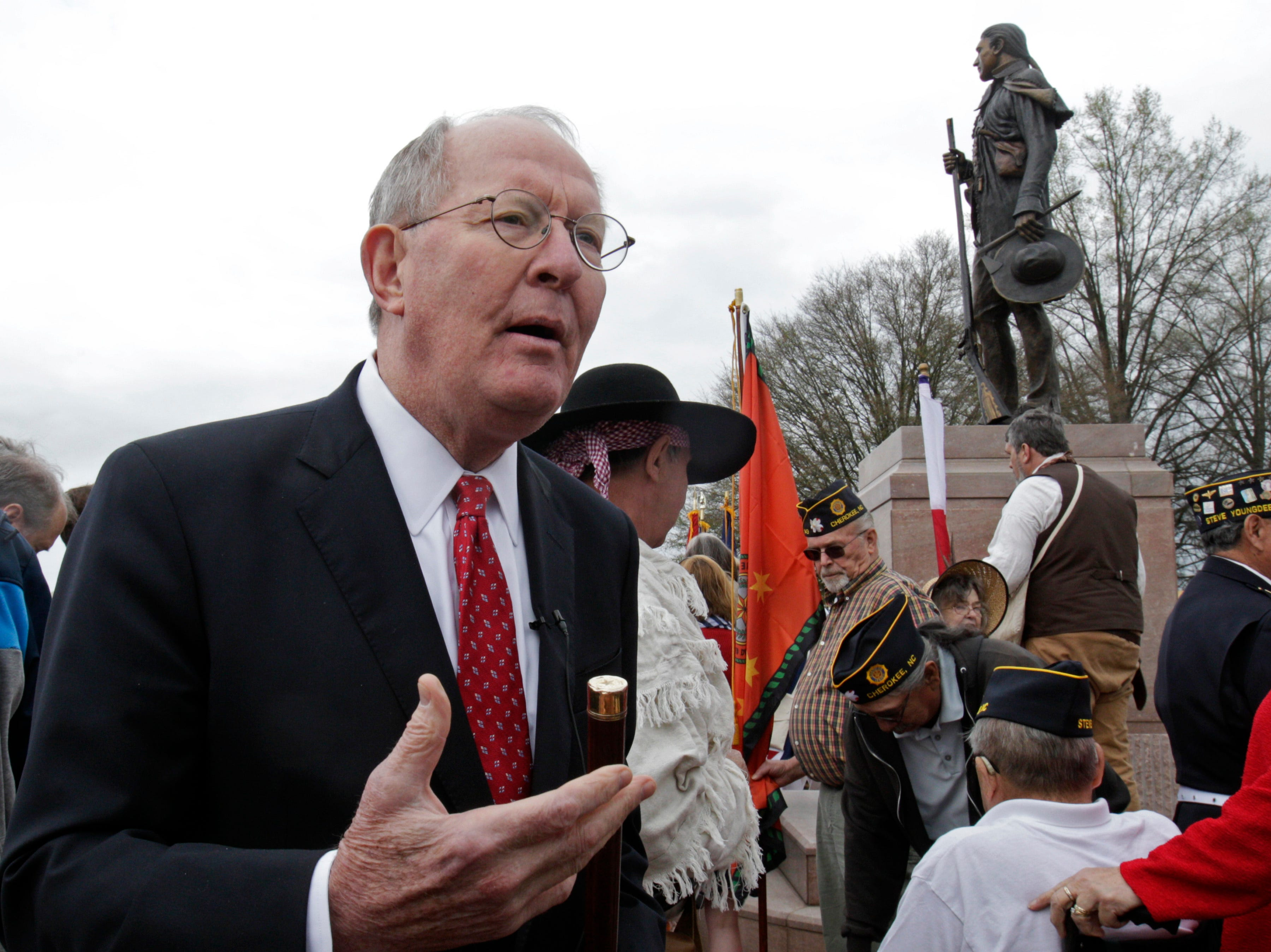 United States senator, Lamar Alexander, speaks after an unveiling of the Sam Houston statue Saturday, March 19, 2016, in Maryville, Tenn.