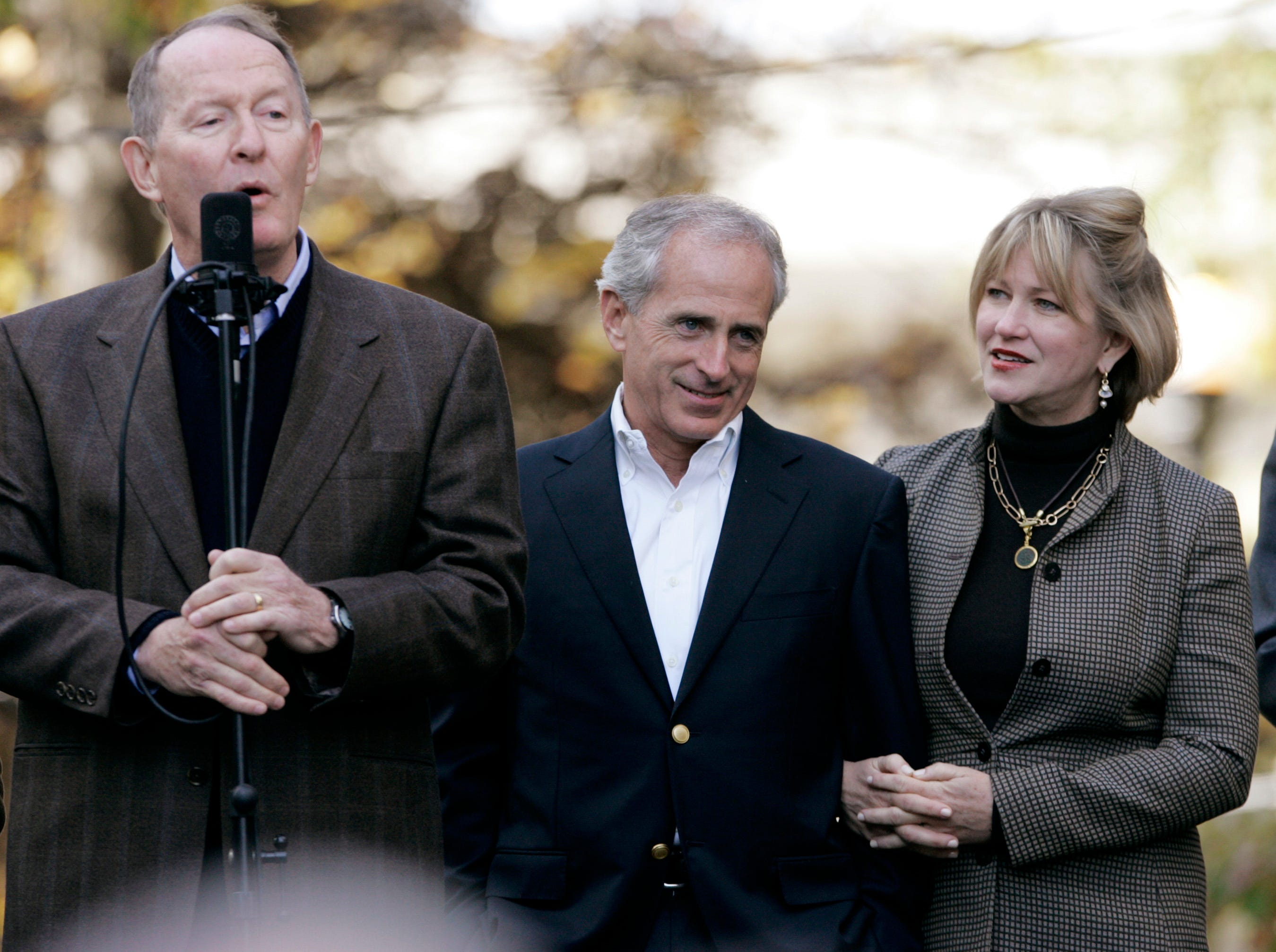 Sen. Lamar Alexander, R-Tenn., left, campaigns for Republican Bob Corker, candidate for Senate, center, in Knoxville, Tenn., Monday, Nov. 6, 2006. With Corker is his wife, Elizabeth.