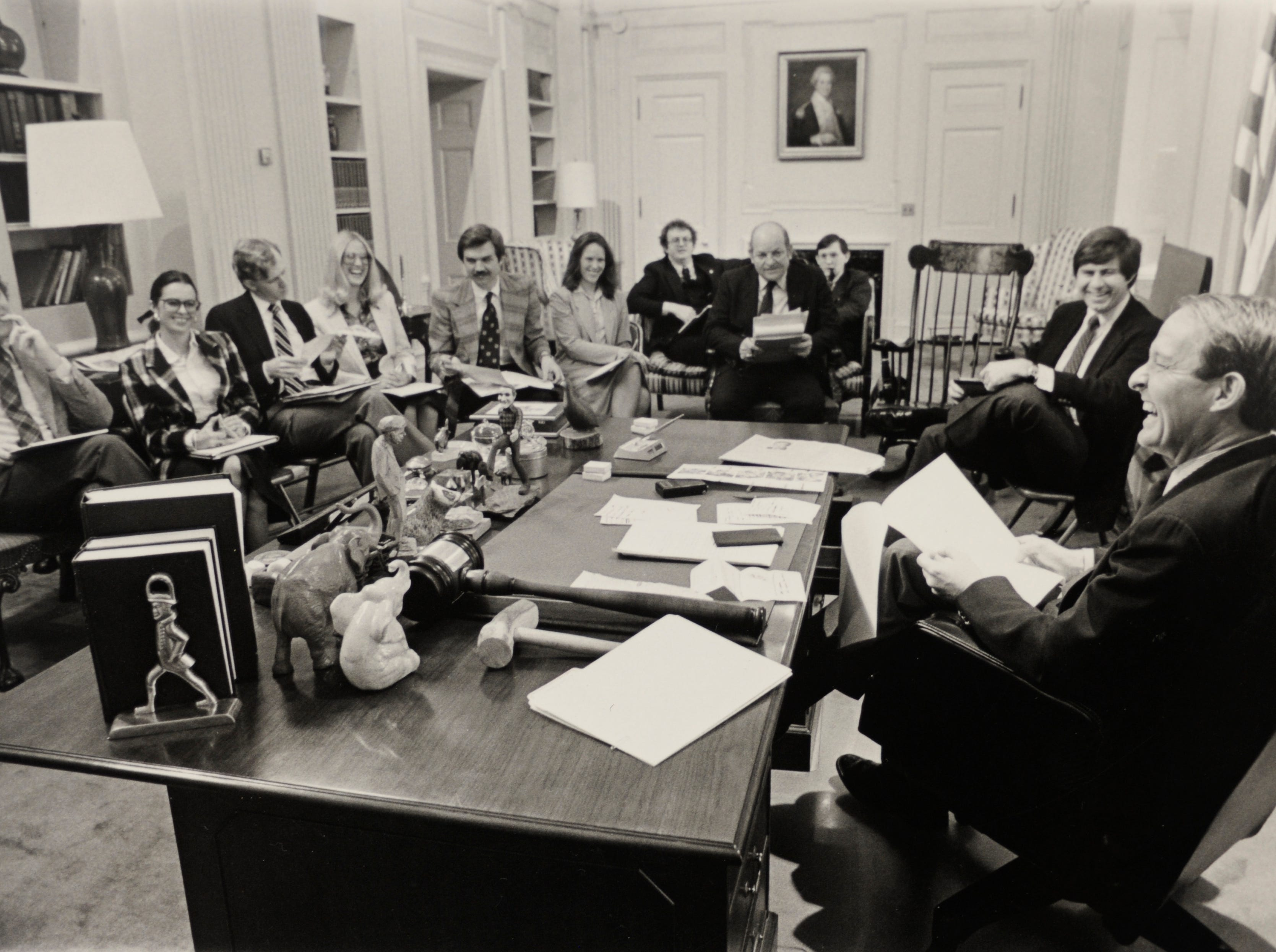 Susan Richardson Williams, second from left, during a staff meeting of Gov. Lamar Alexander when she served as his special assistant in 1980.