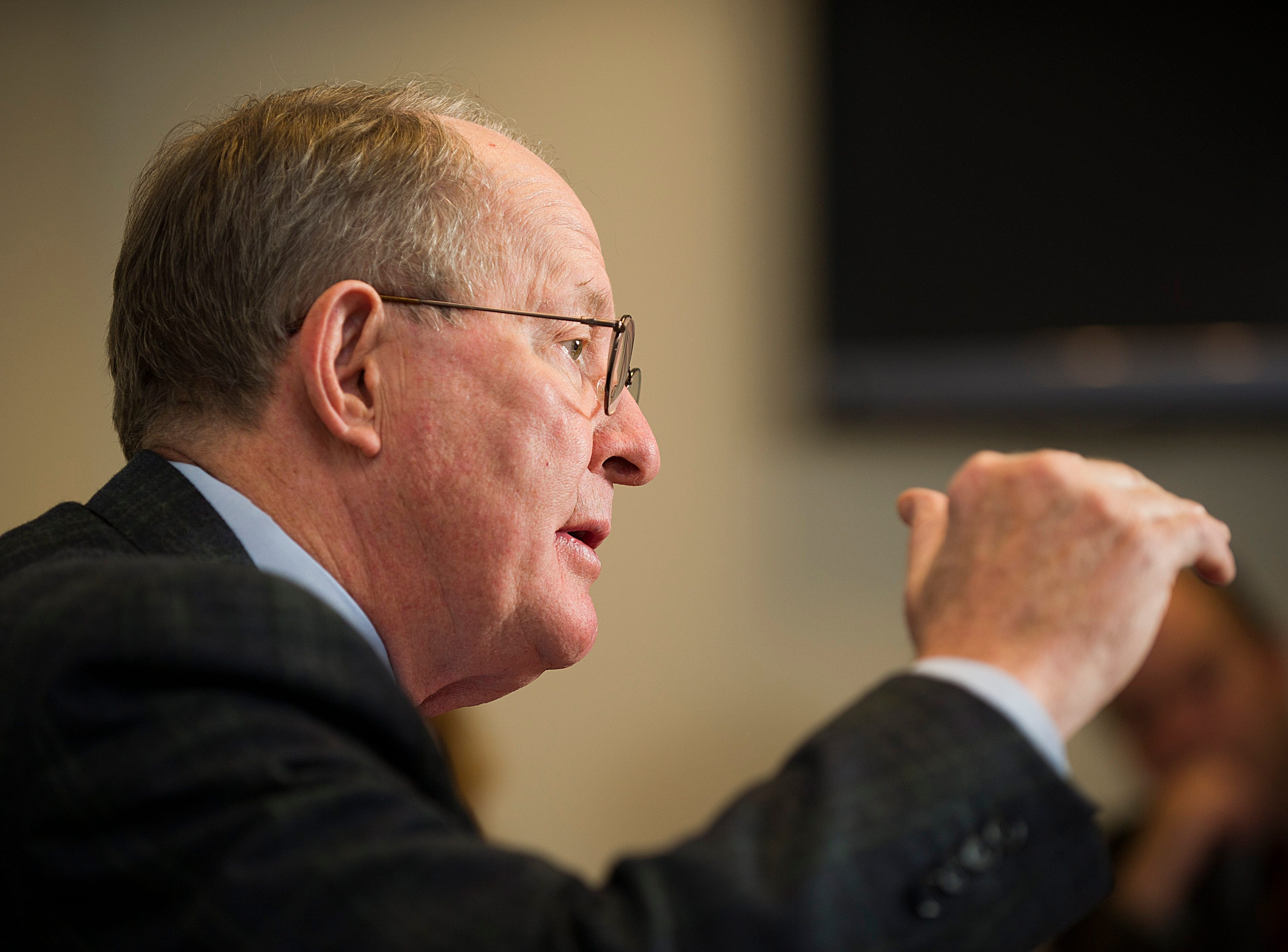 U.S. Sen. Lamar Alexander takes about public policy during a meeting of the News Sentinel editorial board on Tuesday, Dec. 3, 2013, at the News Sentinel office. Among the topics discussed is Republican alternative proposals to the Affordable Care Act.