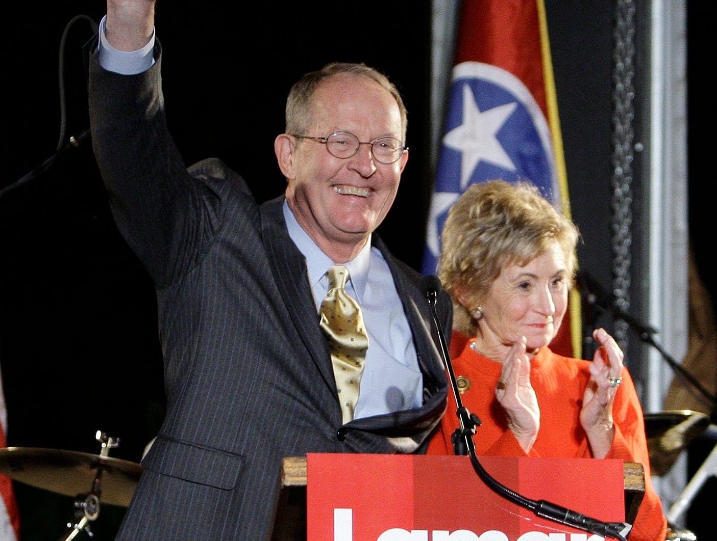 Sen. Lamar Alexander, R-Tenn., and his wife, Honey, greet supporters after he was declared the winner in his re-election bid Tuesday, Nov. 4, 2008, in Nashville, Tenn. Alexander defeated Democrat Bob Tuke.