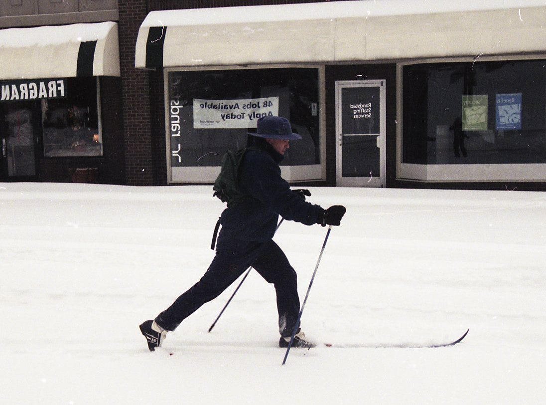 Rob Gieselmann, a Knoxville attorney, uses his cross country skis to get out and about in the snow in February 1996. Gieselmann, who lives on a steep hill in Sequoyah Hills, was on his way down Kingston Pike to buy a newspaper.