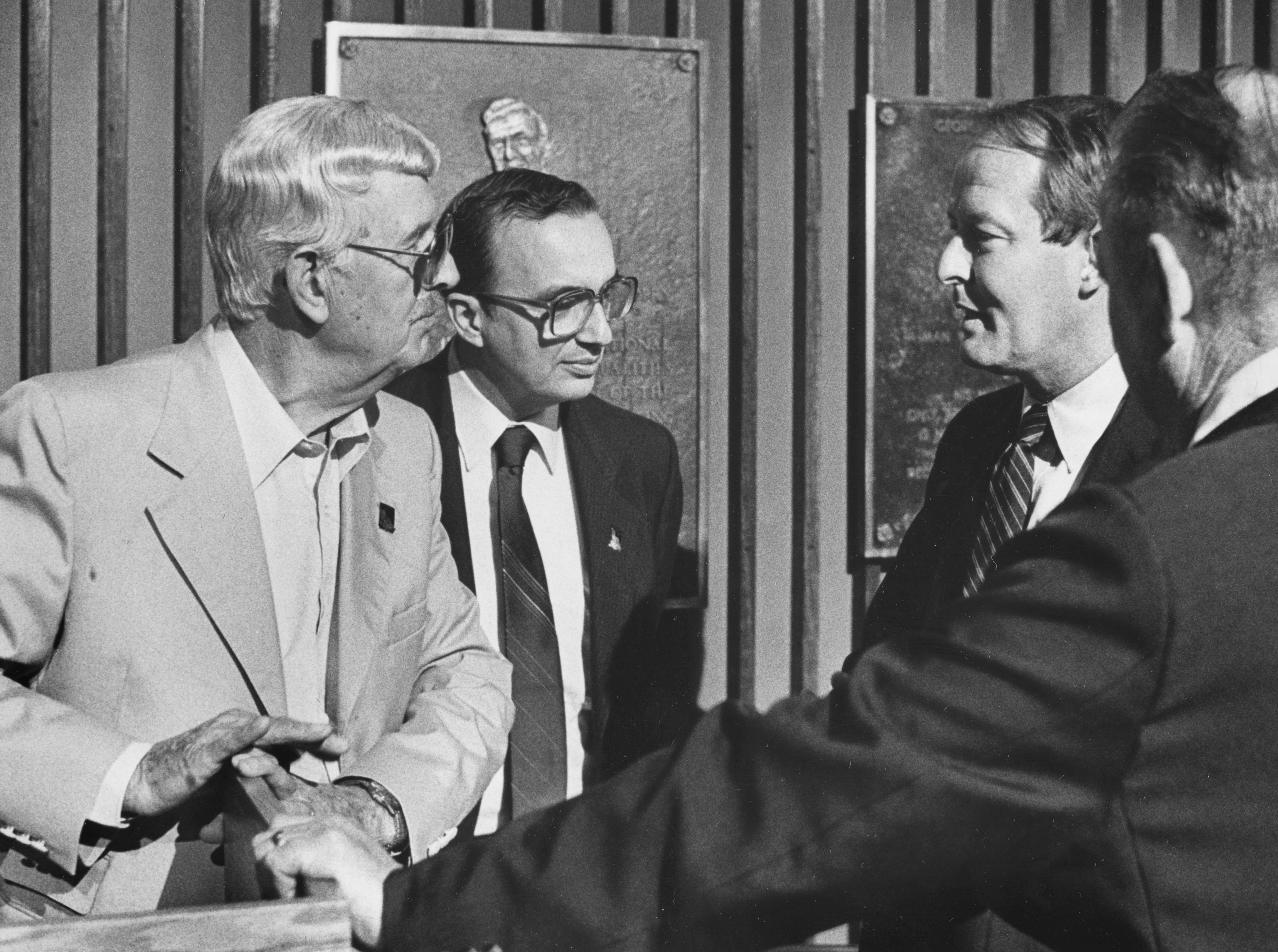 "Archie Campbell, left, News Sentinel Editor Harry Moskos, Gov. Lamar Alexander, and News Sentinel President and General Manager Roger Daley are pictured at the Grand Old Opry House in Nashville on Aug. 29, 1985. They announced the ""East Tennessee Tribute to Country Music"" project in conjunction with the News-Sentinel's 100th anniversary celebration."