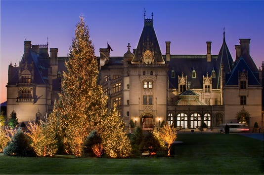 Biltmore's exterior during Christmas